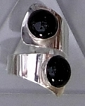 Two Black Onyx Modernist Ring
