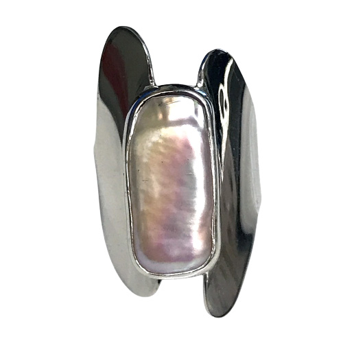Baroque Pearl Modernist Ring