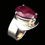 Modern Gold Ring with Pear Shaped Ruby