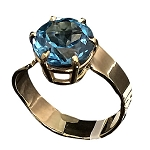 Round Swiss Blue Topaz Gold Ring (BLTR-2)
