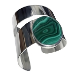 Malachite Modernist Wide Cuff Bracelet