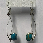 Turquoise Silver Curves Earrings