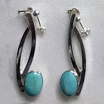 Silver Curves Turquoise Earrings