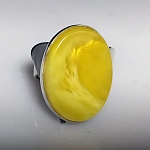 Sculptural Oval Copal Amber Ring
