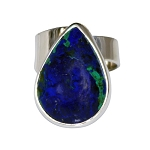 Pear Shaped Azurite Modern Ring