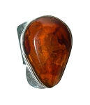 Pear Shaped Baltic Amber Modern Ring
