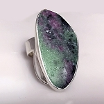 Sculptural Ruby in Zoisite Ring