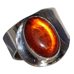 Oval Baltic Amber Modern Ring