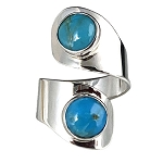Two Turquoise Stones Modern Ring
