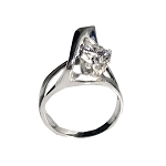 Sculptural Silver Ring (RS-36 CZ)