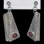 Textured Silver Dangling Earrings