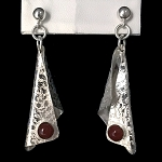 Carnelian Textured Dangling Earrings