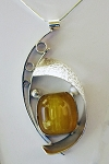 Copal Amber Silver Curves Necklace