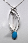 Turquoise Silver Curves Necklace