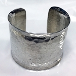 Wide Hammered Cuff Bracelet
