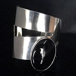 Black Onyx Modernist Wide Cuff Bracelet