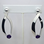 Alexandrite Long Silver Dangling Earrings