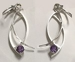 Silver Wisp Earrings with Alexandrite