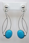 Sterling Silver Turquoise Dangle Earrings (E-311)