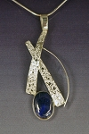 Petite Textured Necklace with Lapis