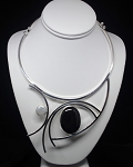 Pearl and Onyx Modern Abstract Collar