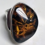 Green Amber Statement Ring
