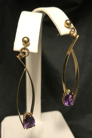 Alexandrite Dangle Gold Earrings