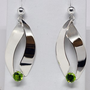 Peridot Long Silver Dangling Earrings