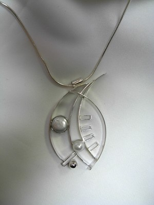Silver Collage Necklace with Pearls
