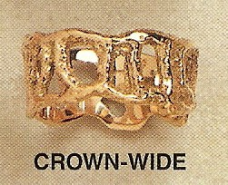 Crown Wide Open Work Modernist Gold Ring