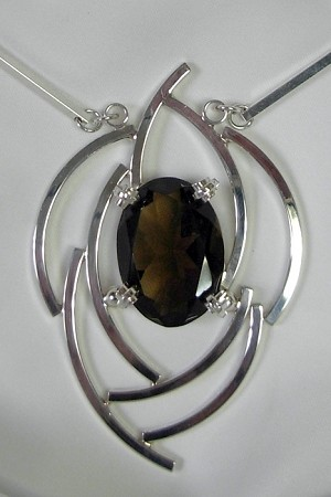 Smoky Topaz Silver Curves Necklace