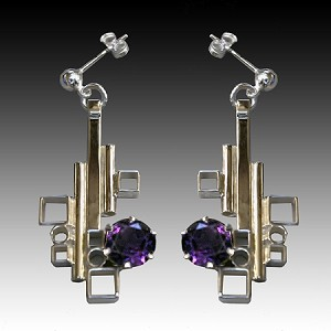 Alexandrite Geometric Dangle Earrings