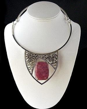 Silver Collage Collar with Agate