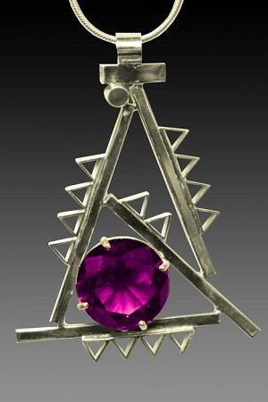 Modern Art Deco Necklace with Alexandrite