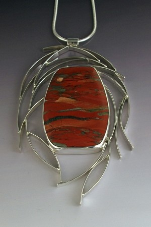 Brecciated Jasper Framed by Wisps of Silver