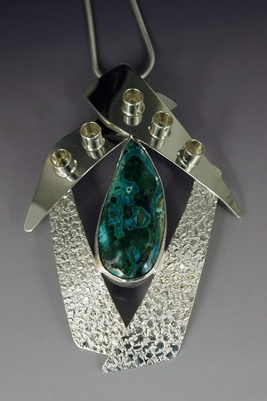 Textured Silver Necklace Framing a Chrysocolla
