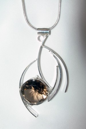 Silver Curves Necklace with Smoky Topaz