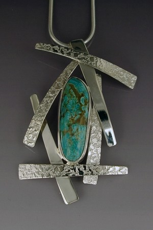 Textured Silver Wisps Necklace with Turquoise