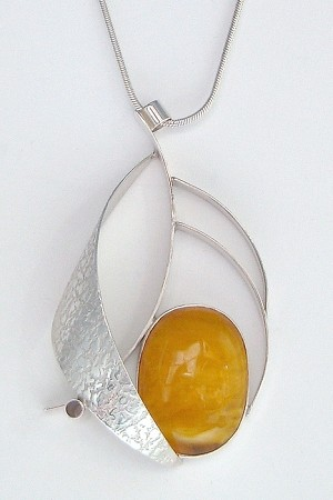 Textured Curves Necklace with Copal Amber