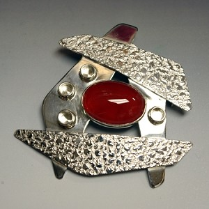 Textured Silver Pin/Pendant with Carnelian