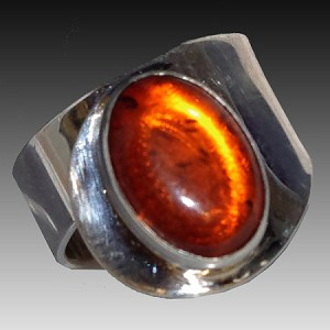 Modern Ring with Oval Baltic Amber