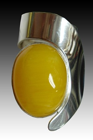 Freeform Copal Amber Modernist Ring